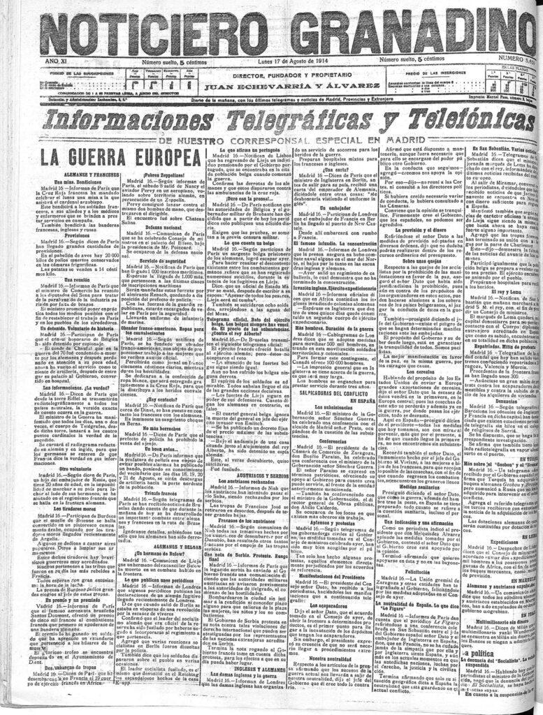 Primera plana del Noticiero granadino del 17 de agosto de 1914.