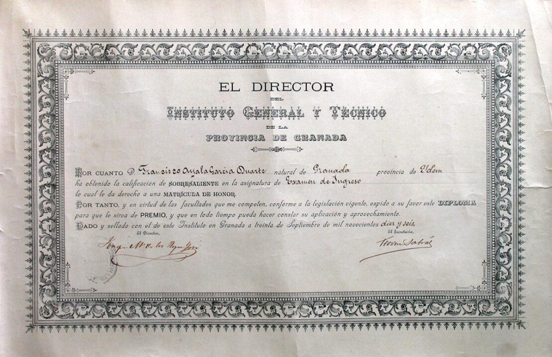 Diploma del examen de ingreso de Francisco Ayala en el Instituto General y Técnico.