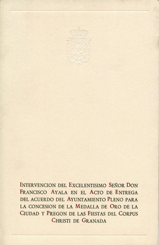 Programa de la entrega de la medalla de oro de la ciudad y pregón de las fiestas del Corpus.