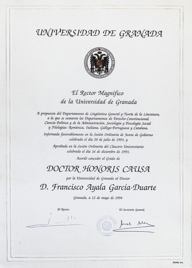 Diploma del doctorado honoris causa por la Universidad de Granada.